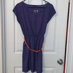 Blue and orange dress with belt